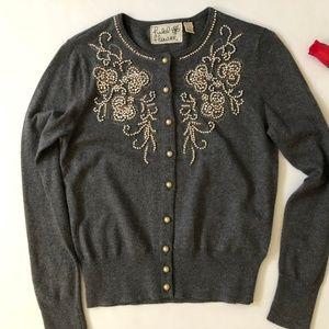 Anthropologie Field Flower Embellished Cardigan S